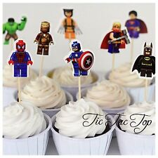 12x Superhero Lego Cupcake Food Topper Pick. Party Supplies Lolly Bag Batman