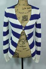 TRINA TURK Nautical Stripe Cardigan Petite Gold Button Sweater Cotton and Modal