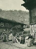 Hanf - Abziehen der Fasern - Surselva - Bündner Oberland - um 1920 - A 7-22