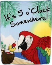 It's 5 O'clock Somewhere Parrot Drinking 50x60 Polar Fleece Blanket Throw Plush
