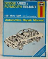 Haynes Dodge Aries & Plymouth Reliant 1981-89 Automotive Repair Manual 723