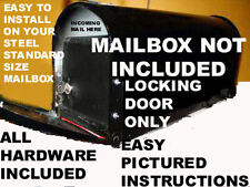NEW LOCKING MAIL SECURITY DOOR-FOR YOUR STANDARD STEEL MAILBOX.- STRONG ABS MAT