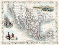 MAP ANTIQUE 1851 TALLIS MEXICO SOUTH WEST USA LARGE REPLICA POSTER PRINT PAM1715