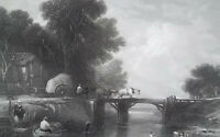 ENGLAND Landscape Horse Cart Crossing Wooden Bridge - SUPERB 1849 Antique Print