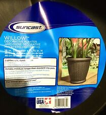 Suncast Sonora 22 Inch Resin Wicker Decorative Garden Flower Planter, Java