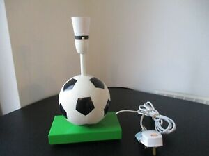 "Boys Football Lamp Base Black White Ball Standing On Grass ""Metal"""