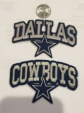 "2 - Dallas Cowboys vintage embroidered iron on Patches 4""x 2 1/2"" Nice!!"