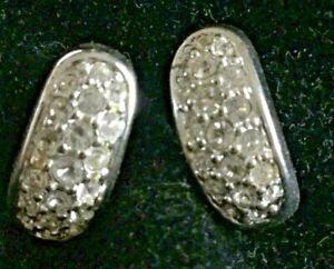 Swarovski Swan Signed Pave Rhinestone Huggie Hoop Earrings Silver tone 1/2 inch