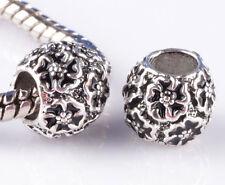 2pcs silver Painted black flowers Beads Fit European Charm Bracelet #A868
