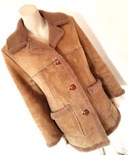 "Vintage 1960s 70s ""Sheepskin Bath"" Sheepskin Coat Hippy Boho Size 10"