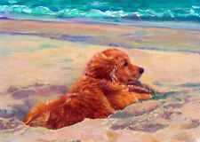 Golden Retriever Art Print of Original Acrylic Painting by Haiyan