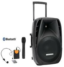 "15"" PORTABLE ACTIVE BLUETOOTH SPEAKER MONITOR BOX SYSTEM SET MP3 SD HEADSET 200W"
