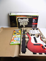 Boxed Like New Xbox 360 Guitar Hero Rock Band Wireless Controller + 2 Games