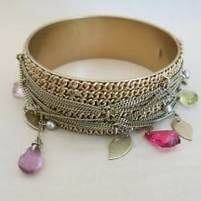 KCR Bangle Bracelet in Gold Tone Metal with Beads & Chain [3757]