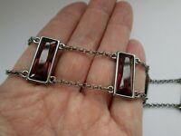 Vintage Signed Swarovski Amethyst Baguette Glass Panel Metallic Link Bracelet
