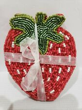 Summer Spring Strawberry Beaded Coasters Home Decor Set of 4