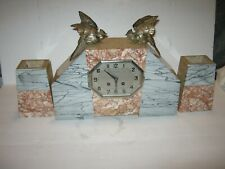 "New ListingVintage ""Love Birds"" 3 Piece French Marble Clock Set"