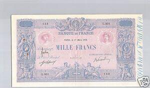 France 1 000 Francs Blue And Pink 1 Mars 1916 Alphabet L.921 Quality
