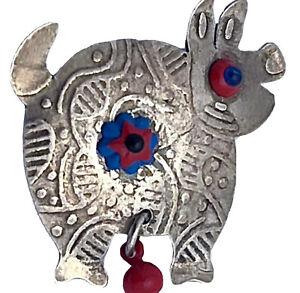 Millodot Jane Carpenter Mixed Metals & Beadwork Piglet Pig Pin Sterling Brass