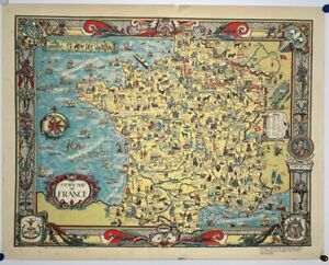ORIGINAL Vintage 1936 Colortext 'Story Map of FRANCE' Pictorial MAP - Europe