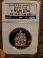 2016 Canada Piefort S$25 Silver 1oz Coat Of Arms FR Coin 9999 PF70 UC NGC