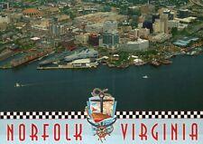 Aerial View of Norfolk Virginia, Nauticus Museum USS Wisconsin etc VA - Postcard
