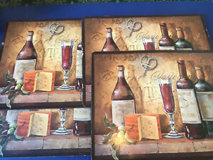 Set of 4 Cork Back Bordeaux Wine Country Design Cheese Fruit Dinner Placemats UK