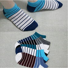 5 Pairs Men Striped Socks Casual Soft Cotton Low Cut Crew Ankle Socks Cut Peds