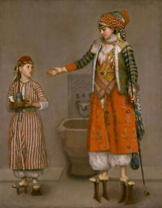 Jean Etienne Liotard A Frankish Woman and Her Servant Poster Giclee Canvas Print
