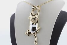 14K Yellow and White Gold Hanging Textured Kitten Cat Charm Pendant