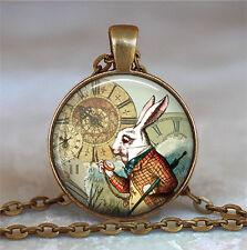 White Rabbit pendant, Alice jewelry, Alice in Wonderland pendant, Wonderland