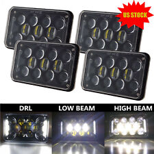 "4PCS 4x6"" CREE H4 LED Headlights Halo DRL For Kenworth Peterbilt 379 378 357 GMC"