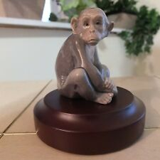 Lladro Mini Monkey # 5432 Mint Condition With Wood Display Base Fast Shipping!