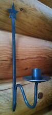 Wrought iron wall taper candle holder black rustic colonial patriotic