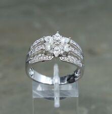 Silver flower W/ cluster Crystal Sz 10, vintage Sterling Ring, 925