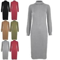 Womens Ladies High Turtle Polo Neck Rib Knitted Long Sleeve Bodycon Midi Dress