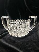 Vintage American Brilliant Cut Crystal Double Handle Sugar Bowl - Sawtooth Rim