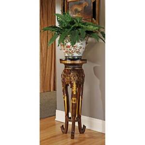 """32""""  Wildlife Elephant Carved Sculpture Urn Flower Vase Pedestal Stand"""