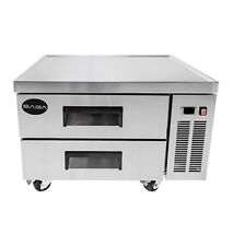 "NEW HEAVY DUTY 36"" 2 DRAWER REFRIGERATED CHEF BASE COOLER W/ CASTERS FREE SHIP"