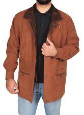 Gentlemens Real Nubuck Leather Classic Parka Jacket 3/4 Long Tan/ Brown Car Coat L
