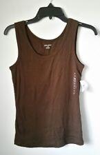 NWT Women's Brown Cotton Stretch Tank Top Cami Size M Medium St Johns Bay