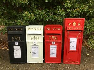 British VR Post Box Royal Mail Pillar Cast Iron Post Office - Red