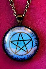 Wiccan Pagan Pentagram Goddess Green Man Magick Pendant Necklace 30mm Cabochon
