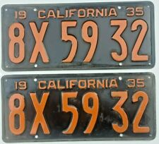 1935 California License Plates - Old Original Pair - Number is DMV Clear