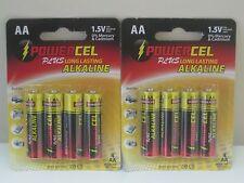 8 Pack AA Powercel Alkaline Batteries SEALED PACKS! 2019