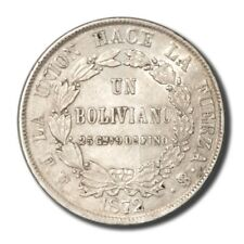 Bolivia Un Boliviano Potosi 1872 FE AU KM 155.4