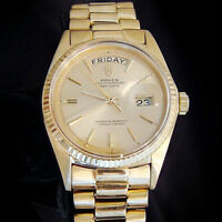 Mens Rolex Day-Date President 18K Yellow Gold Watch Champagne Dial Vintage 1803