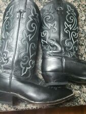 Mens size 8 ee Justin Brand Western Boots Color Black Used model 1407