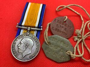 Original WW1/World War 1 British War Medal, Died/Casualty, ID Tags, Border R.