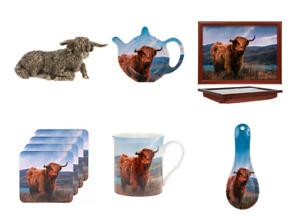 Highland Cow kitchen ware, mug, lap tray, coaster,s tea bag tidy, spoon rest